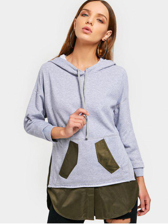 womens Patch Pocket Shirt Hem Hoodie - GRAY XL