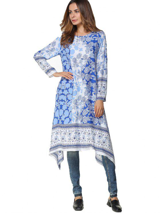 trendy Long Sleeve Floral Asymmetrical Midi Dress - BLUE L