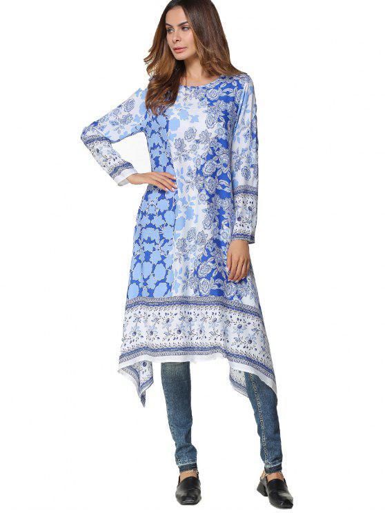 chic Long Sleeve Floral Asymmetrical Midi Dress - BLUE M