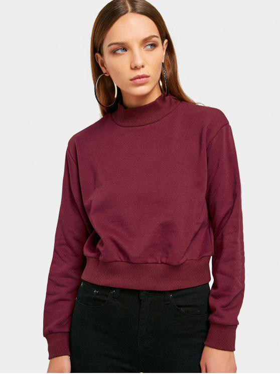fashion High Neck Cropped Sweatshirt - WINE RED L