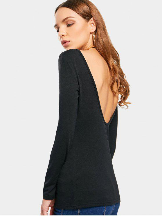women Long Sleeve Backless T-shirt - BLACK 2XL