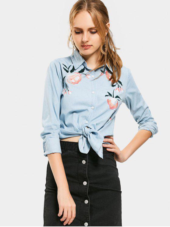 Botón bordado floral encima de la camisa de Chambray - Nublado L