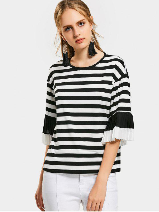 womens Pleated Flare Sleeve Striped Tee - STRIPE XL