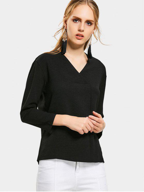 ladies V Neck Drop Shoulder Long Sleeve Blouse - BLACK S