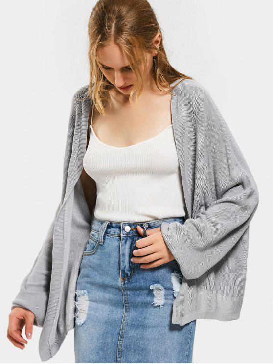 Abrigo Frontal Plain Drop Shoulder Cardigan - Gris M
