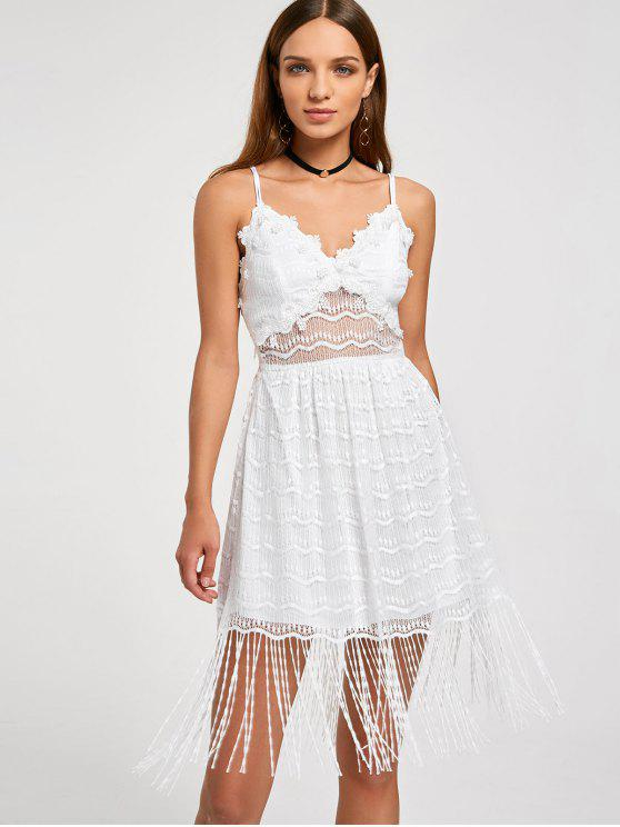fancy Fringe Lace Slip Dress - WHITE M