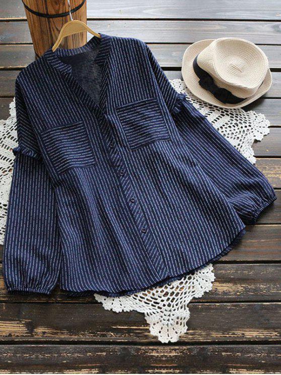 buy V Neck Ruffle Hem Striped Pocket Blouse - CERULEAN ONE SIZE