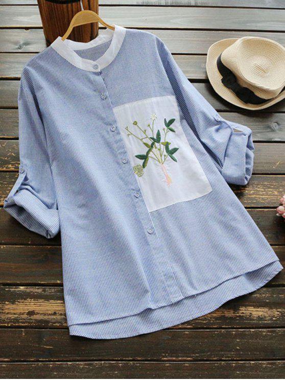 Blusa de revestimiento lateral floral remendada lateral - Raya Azul Talla única