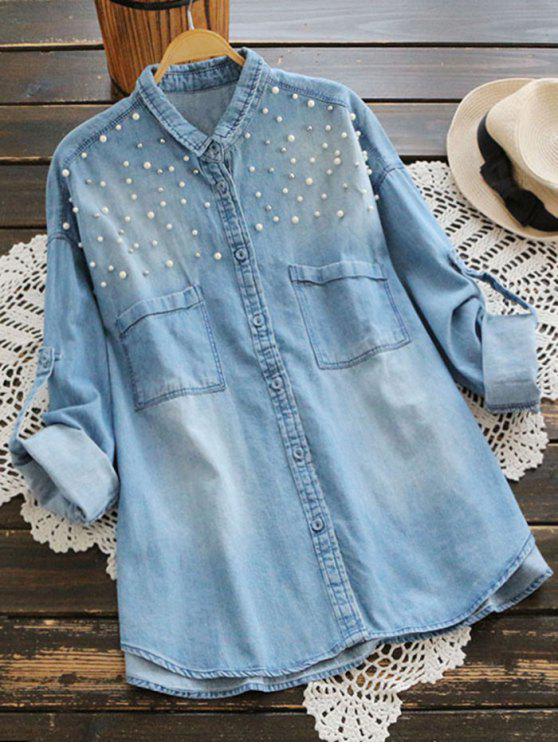 new Beaded Embellished Pockets Denim Shirt - LIGHT BLUE ONE SIZE