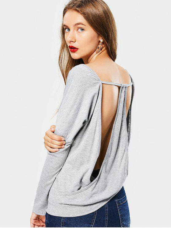 shops Cut Out Open Back V Neck T-shirt - LIGHT GRAY 2XL