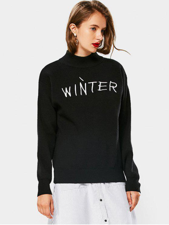 womens Winter Graphic High Neck Sweater - BLACK ONE SIZE