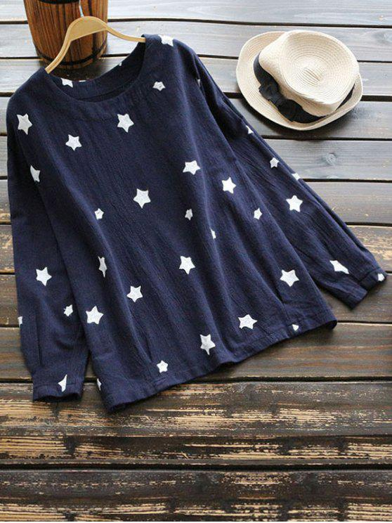 shops Drop Shoulder Star Blouse - PURPLISH BLUE ONE SIZE