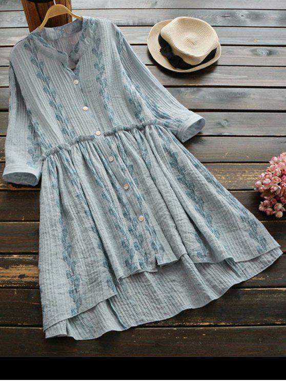 ladies Feather Print Button Up High Low Dress - LIGHT GRAY ONE SIZE