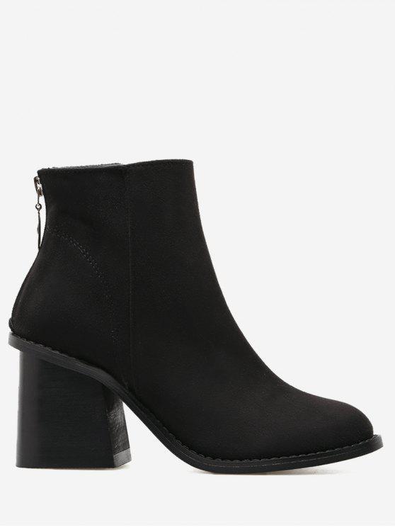 فو الجلد المدبوغ كتلة كعب أحذية الكاحل - أسود 38