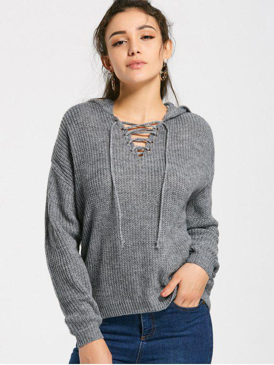 chic Hooded Loose Lace Up Sweater - GRAY S