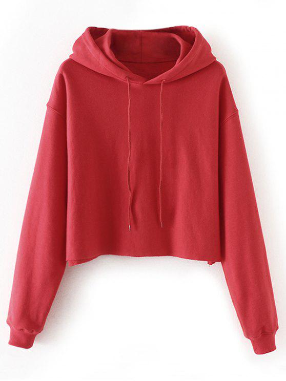 best Cropped Drop Shoulder Pullover Hoodie - RED L