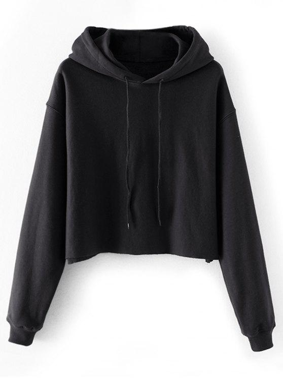hot Cropped Drop Shoulder Pullover Hoodie - BLACK L
