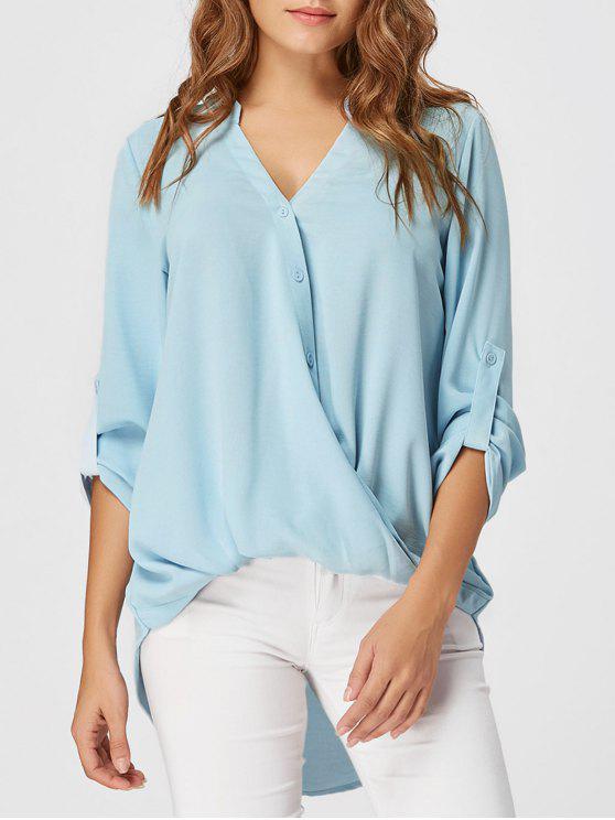 Blusa con cuello alto y bajo en gasa - Azul Claro M