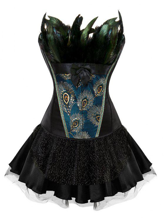 women Two Piece Corset Dress with Feather - BLACK 2XL