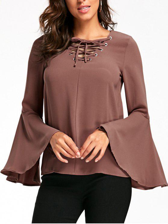 women's Flare Sleeve Lattice Blouse - SANDY BEIGE S