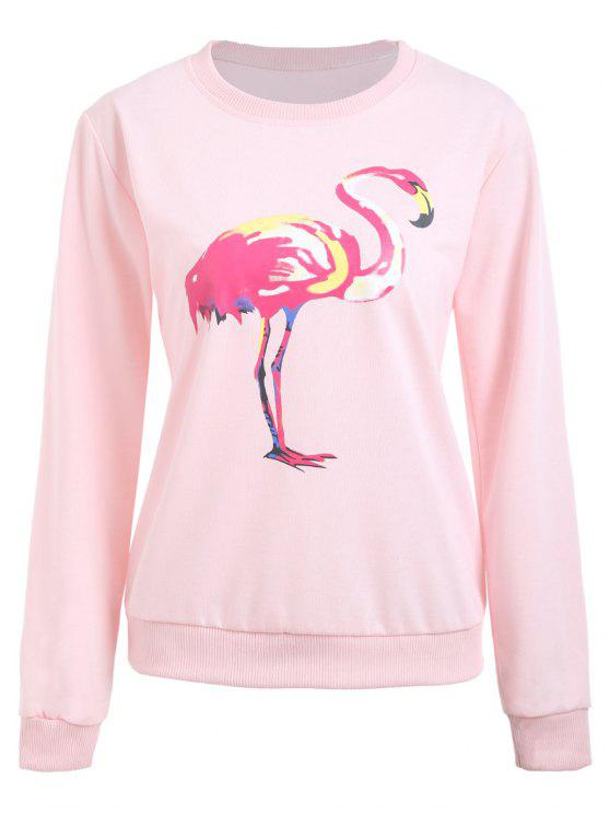 5a974cd16 28% OFF  2019 Camisola Gráfica Da Cópia Do Flamingo Do Pescoço Com ...