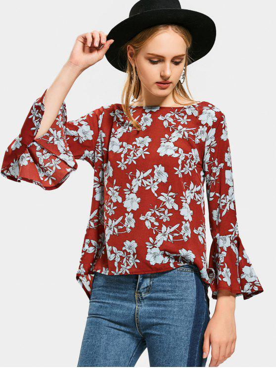 fashion Flare Sleeve Floral High Low Blouse - FLORAL L