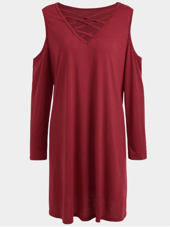 فستان تيه الحجم الكبير باردة الكتف شريط - أحمر 3XL