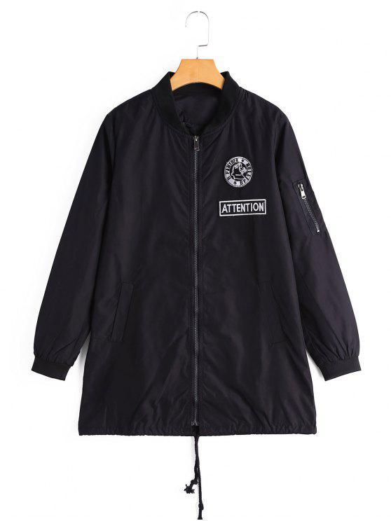 Manteau à Badge Patché Zippé avec Poches - Noir S