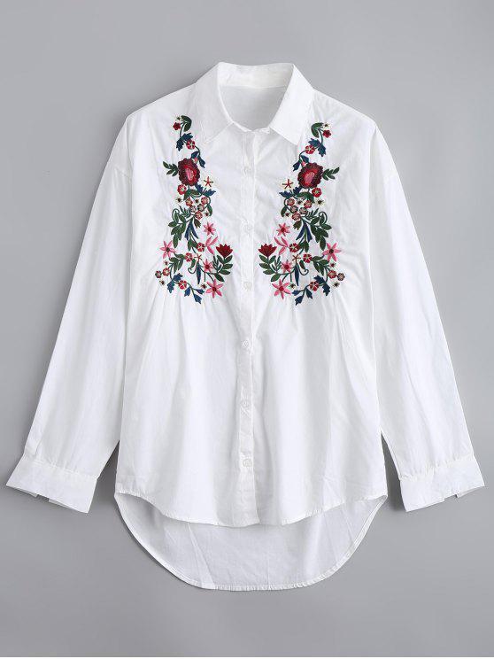 شيرت عالية انخفاض زر مطرز بالأزهار - أبيض M