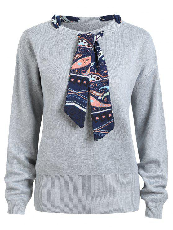 Plus Size Ribbon Embellish Sweater - Cinza 5XL