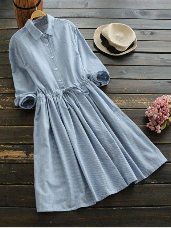 women Drawstring Waist Striped Shirt Dress - LIGHT BLUE M