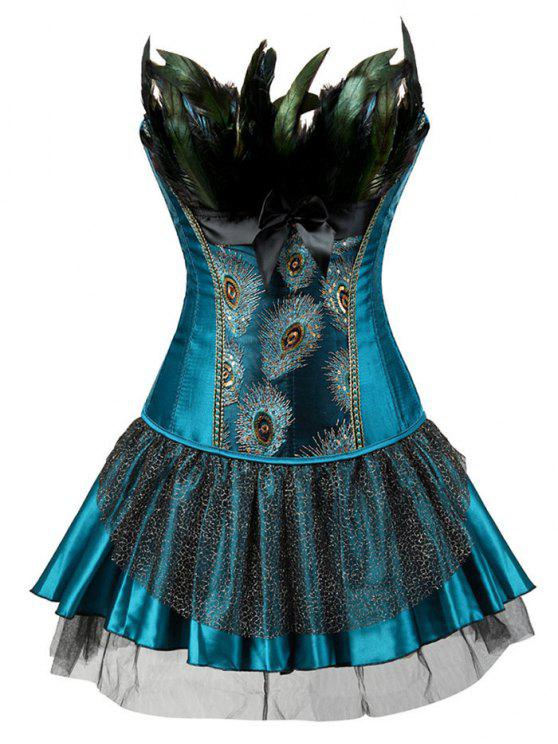 women's Two Piece Corset Dress with Feather - LAKE BLUE 2XL