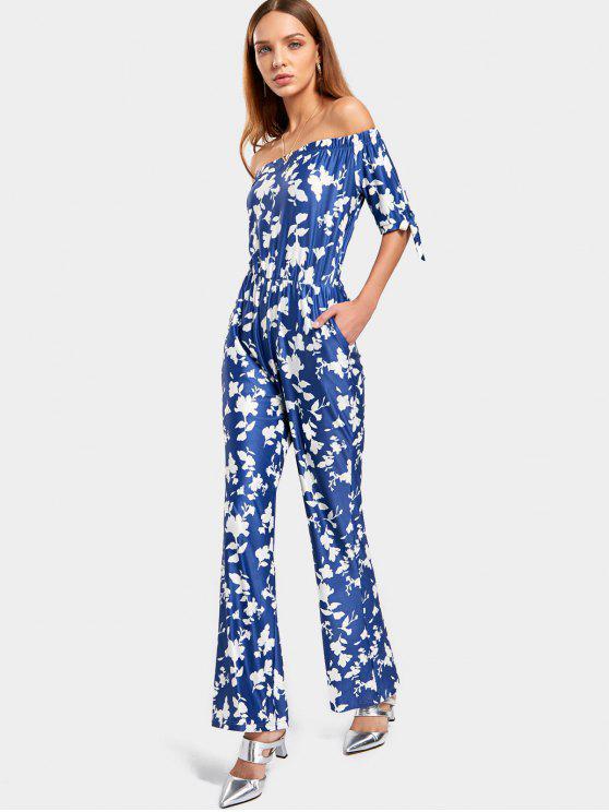 Off El hombro Floral Imprimir Jumpsuit - Azul L