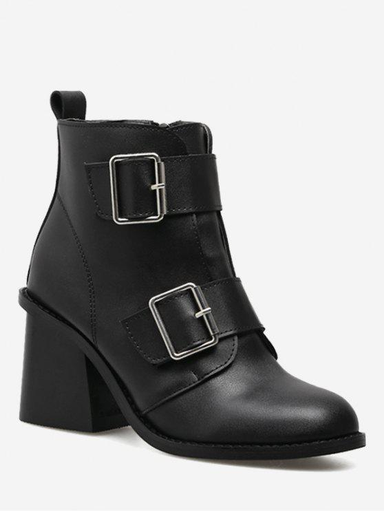 women's Chunky Heel Double Buckle Straps Ankle Boots - BLACK 38