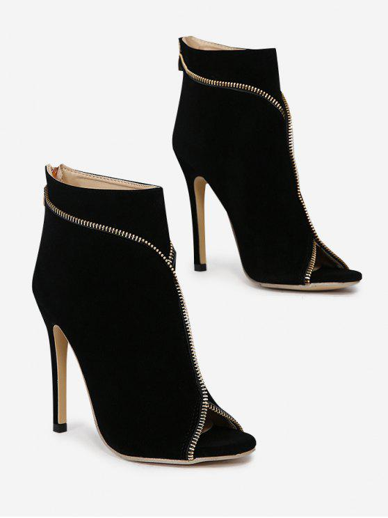 Zip Embellished Peep Toe Stiletto Heel Boots - Preto 39