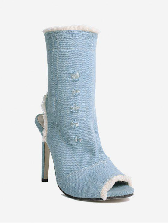 Peep Toe Denim Stiletto Heel Boots - Azul 36