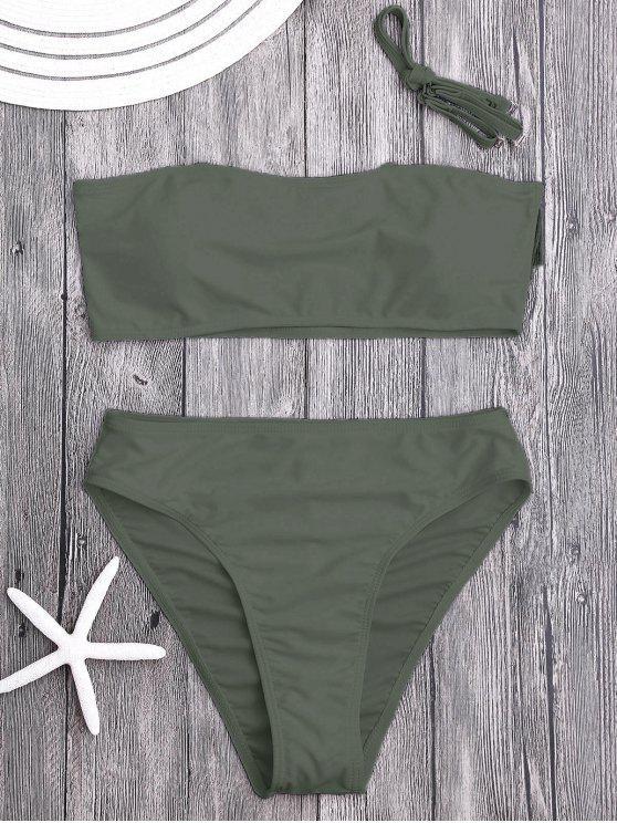 Gepolsterter Hohe Schlitz Bandeau Bikini Set - olivgrün M