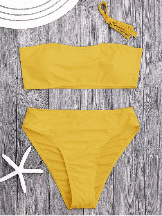 Conjunto de Biquíni Acolchoado de Fita com Corte Alto - Amarelo Gengibre L