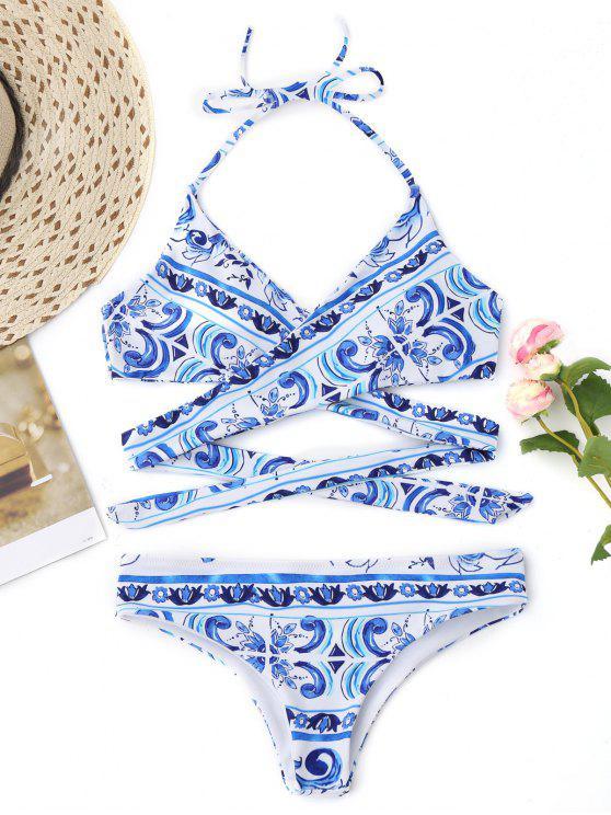 Halter Impreso Envuelva Bikini Swimwear - Azul M