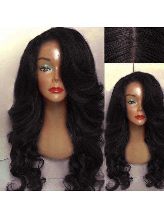 Peluca ondulada del pelo humano - Negro