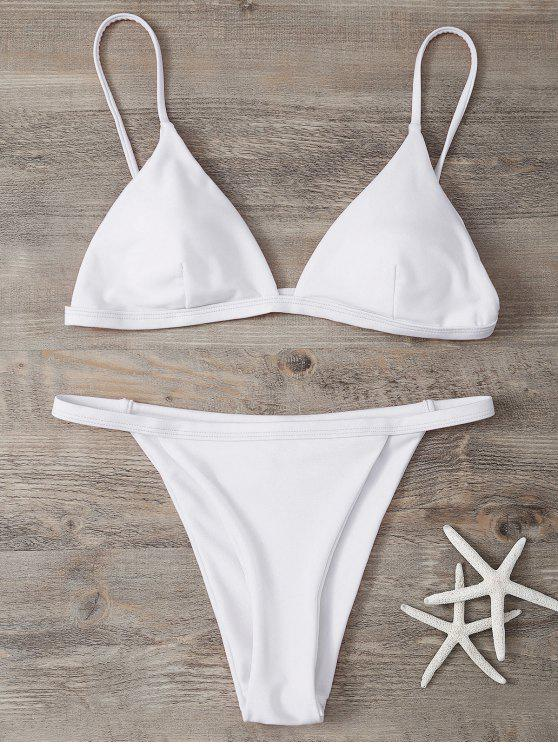 lady Low Waisted Spaghetti Strap Bikini Swimwear - WHITE L
