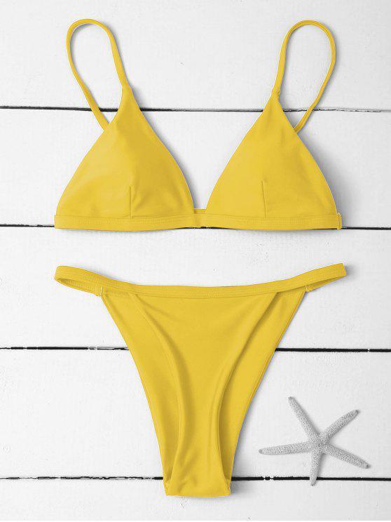 Bikinis à Taille Basse à Bretelles Spaghetti - Jaune M
