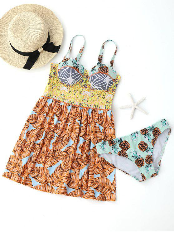 chic Printed Underwire Skirted Tankini Top with Briefs - COLORMIX XL