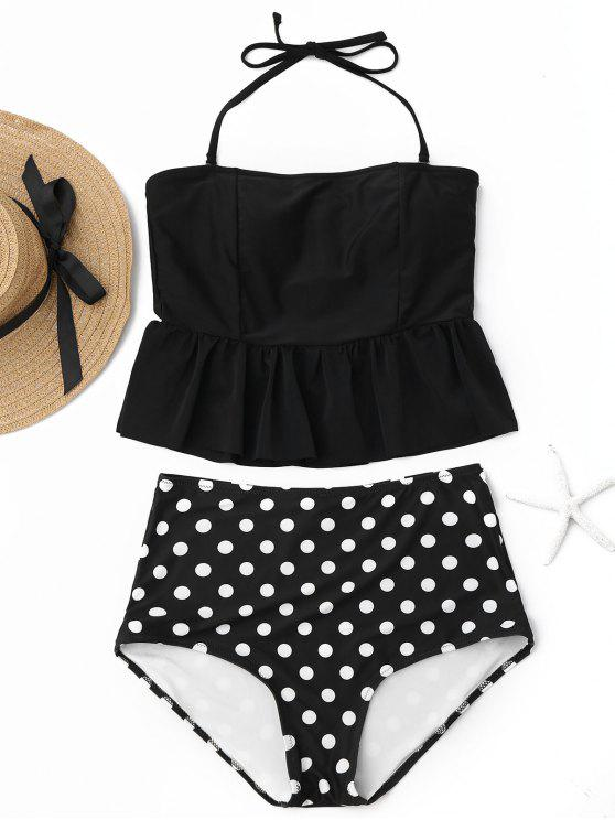 chic Polka Dot Peplum High Waisted Tankini Set - BLACK M