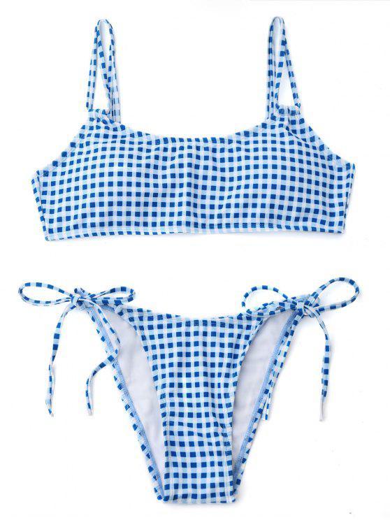 Bikini à Double Bretelles à Carreaux - Bleu et Blanc L