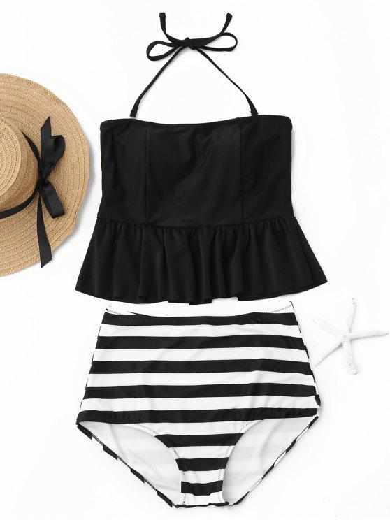 lady Striped Peplum High Waisted Tankini Set - BLACK XL