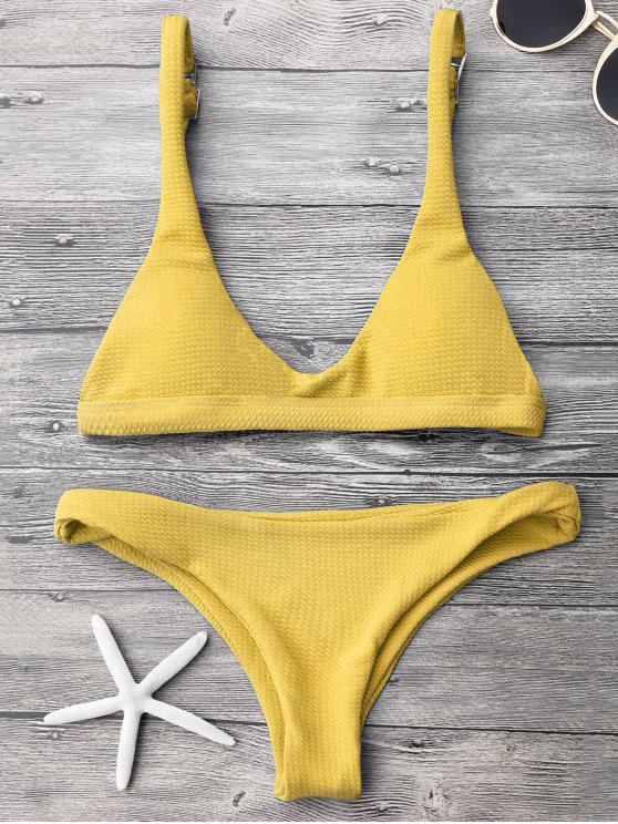 fancy Low Waisted Padded Scoop Bikini Set - YELLOW S