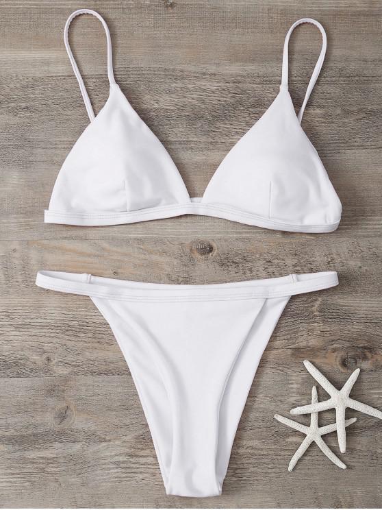 best Low Waisted Spaghetti Strap Bikini Swimwear - WHITE M