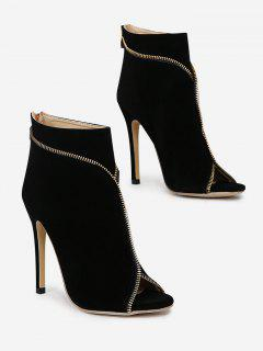 Zip Embellished Peep Toe Stiletto Heel Boots - Black 37
