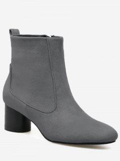 Zipper Pointed Toe Chunky Heel Boots - Gray 40